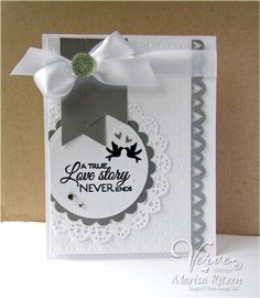 Card by Marisa Ritzen using Love Story by Verve Stamps. Wedding Shower Cards, Wedding Cards, Wedding Anniversary Cards, Beautiful Handmade Cards, Card Maker, Card Sketches, Creative Cards, Baby Cards, Scrapbook Cards