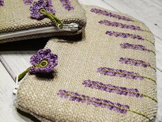 Embroidery purse  Lavender Flowers Blossoms  by myRainbowWorld