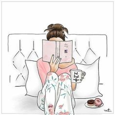 Illustration Fashion Its going to be a lazy day. Reading in bed, pajamas, coffee, donuts :) I Love Books, My Books, Book Nerd, Fashion Sketches, Book Lovers, Book Worms, Art Drawings, Illustration Art, Landscape Illustration