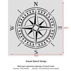 Compass bearing Stencil X Large size par JboutiqueStencils