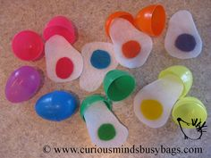 Matching colors eggs busy bag by CuriousMindsBusyBags on Etsy, $5.25