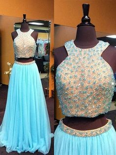 Charming Prom Dress,Two Pieces Prom Dress,Tulle Prom Dress,Beading
