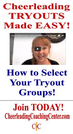 Joint the CheerleadingCoachingCenter.com today for all of the TOP TIPS for you cheerleading tryouts.