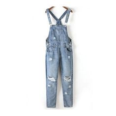 59c84840c8c6 Bleach Wash Ripped Denim Overalls BLUE  Jumpsuits