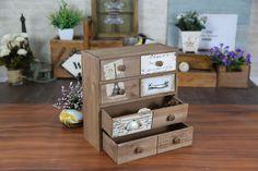 Zakka grocery retro wooden four drawer desktop storage box