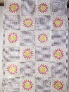 Vintage Antique Handmade Quilt 1930's Sunburst Quilt Never Used #4, eBay, imahick1939