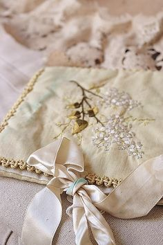 FRENCH LINGERIE COVER SOLD Ribbon Work, Silk Ribbon, Chabby Chic, Flower Embroidery Designs, Vintage Handkerchiefs, Textile Patterns, Soft Colors, Needlework, Romantic