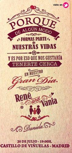 Invitación de René Ramos y Vania Millán
