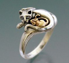 Cat and Mouse Ring Bimetal by SheppardHillDesigns on Etsy,