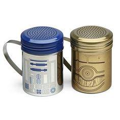 R2-D2 & C-3PO Spice Shaker Set | ThinkGeek - I would use these for powdered sugar and cinnamon sugar to shake on my Star Wars pancakes!