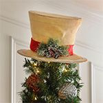 Top off your Christmas tree with a Snow Dusted Burlap Top Hat! Crafted with burlap, this cream top hat is accented with a cluster of holly.