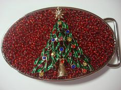 Christmas Belt Buckle  Oh Christmas Tree 2 by MnMTreasures on Etsy