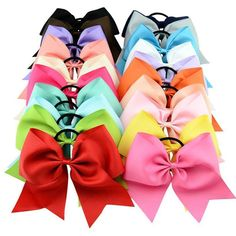 Cheap cheerleading bows, Buy Quality bow bow directly from China for girls Suppliers: High Quality 8 Inch Solid Cheerleading Bow With Elastic Band Ribbon Cheer Bow Ponytail Bands For Girl Hair Accessories Teen Hair Bows, Toddler Hair Bows, Girls Bows, Girl Toddler, Ribbon Headbands, Ribbon Hair Bows, Bow Hair Clips, Cheerleading Hair Bows, Cheer Bows