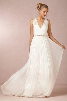 2014 V Neck Open Back A Line Wedding Dress With Chiffon Skirt Court Train