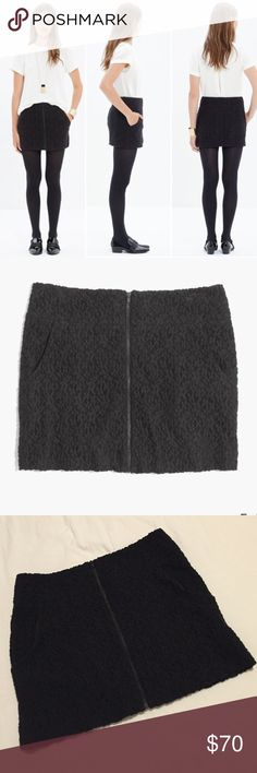 """Madewell et Sezane Julia Black Mini Skirt NWT! Short, straight. lace mini skirt with an edgy front zip. Cotton/Nylon, front pockets, approx 13.5"""" long. Madewell Skirts Mini"""
