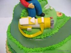 How to make a Golf Cake - Cake Decorating Tutorial Golf Course Cake, Golf Theme, Cookie Videos, Cake Youtube, Mermaid Cakes, Cake Decorating Tutorials, Occasion Cakes, Pretty Cakes, Gum Paste