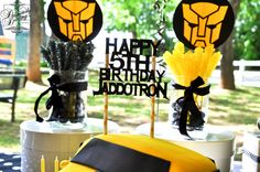 Transformers - like the idea of the rock candy suckers in Bumblebee colors