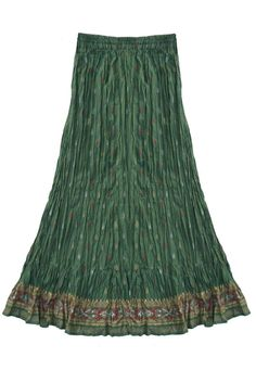 Printed Cotton Broomstick Long Skirt: Sage Green