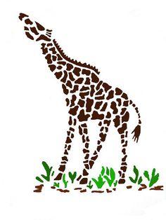 Giraffe wall stencil. Animal wall stencil by 3MonkeysWallStencils