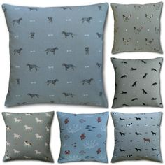 Cushion Covers in Sophie Allport Dogs, Chickens, Fish or Unicorns Pillows Animal Throws, Animal Cushions, Elephant Fabric, Owl Fabric, Cushion Covers, Throw Pillow Covers, Pillow Cases, Cottage Crafts, Dog Branding