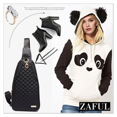 """Panda Hoodie by Zaful 17"" by deeyanago ❤ liked on Polyvore featuring SWEET MANGO, women's clothing, women's fashion, women, female, woman, misses, juniors, GetTheLook and winterstyle"