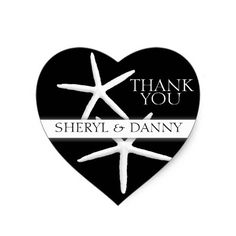 Starfish on Black, Heart-Shaped Thank You Stickers
