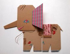 Pink-eared Elephant :Paper friends by blancahelga on Etsy Cardboard Sculpture, Cardboard Crafts, Paper Crafts, Cardboard Paper, Diy For Kids, Crafts For Kids, Arts And Crafts, Art N Craft, Diy Art
