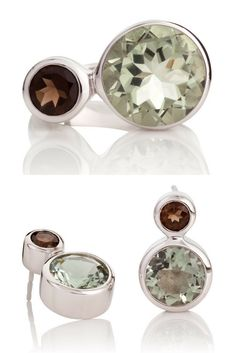 Sterling Silver Gemstone Ring and Earrings by British Jeweller MANJA. Songofjewellery.com - free shipping.