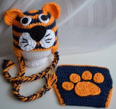 Auburn Tigers Diaper Cover & Hat Set, Clemson Tigers, LSU Tigers, Baby Girls and Boys Clothing and Shoes, Photo Prop Clemson Tigers, Auburn Tigers, Crochet Baby Hats, Crochet Beanie, Crochet For Kids, Knit Crochet, Double Crochet, Single Crochet, Baby Girls