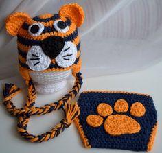 auburn crochet | Auburn Tigers Diaper Cover & Hat Set Clemson by ... | CROCHET!!!!