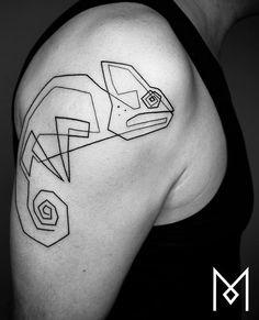 Mo Ganji chameleon tattoo