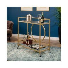 Vintage Bar Cart Rolling Serving Tea Wine Liquor Table Metal Kitchen Trolley Art #LuxServingCart