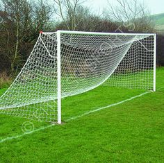 Fitness sports ground socketed steel football goals ideal for use in parks, schools, play areas and open spaces. Includes one complete unit with single cross bar, 2 side posts, 2 steel in ground sockets, 2 extension arms and outdoor football net.