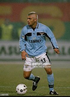 Fabrizio Ravanelli of Lazio in action during the Serie A match against Venezia played at the Pialugi Penzo Stadium in Venice Italy Venezia won the. Ss Lazio, Legends Football, Stock Pictures, Football Players, Soccer, Venice Italy, Free Photos, Royalty, Action