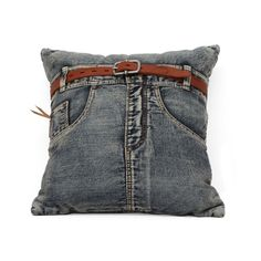 What's more comfortable than your favorite jeans? This quirky pillow is made of upcycled denim jeans and belted for an extra dose of fun. Back-pocket version also available.  Find the Favorite Jeans Pillow - Front, as seen in the #Throwback: The 90s Collection at http://dotandbo.com/collections/throwback-thursday-90s-style?utm_source=pinterest&utm_medium=organic&db_sku=ZUO0221-front