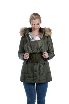 Modern Eternity Convertible Maternity Puffer Jacket with Faux Fur Trim Maternity Winter Coat, Maternity Jacket, Maternity Coats, Puffer Jackets, Winter Jackets, Fur Trim, Cold Weather, Canada Goose Jackets, Fit And Flare
