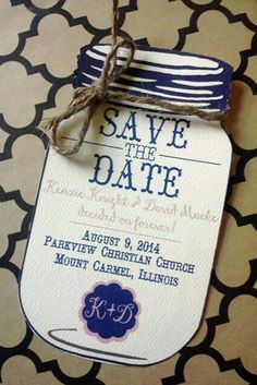 Mason Jar Save the Date with Jute Twine $180 for 100 Save The Dates
