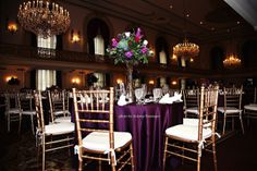 Radiant Purple Orchid Centerpieces. Ballroom. Tall Centerpieces for Fall .