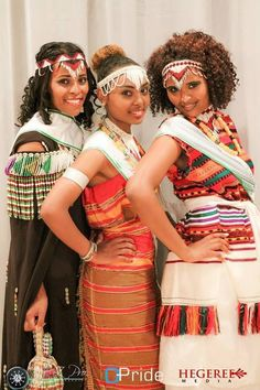 Oromo women dressed in traditional Oromo attire.  The Oromo people make up the largest Ethnic group in Ethiopia.