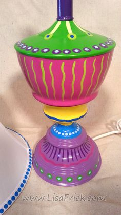 Hand Painted Table Lamp and Shade 013 Fun Funky by LisaFrick