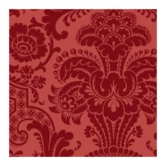 Red damask wallpaper home decor