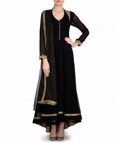 Black Anarkali Suit with Golden Embroidered Back