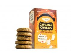 New World Caveman Cookies are made with ingredients that cavemen might have discovered while exploring the New World!  They are sweet and satisfying with New World flavors like pumpkin, maple and cranberries. There are 8 cookies per box.