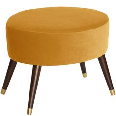 Add a pop of color to your living room with this funky, modern ottoman. Its oval shape, saturated color and sleek legs trimmed in gold make it a statement piece for space.