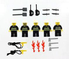 5 Lego City Fire Minifigures Men People Minifigs Guys 5X Figures w Tools | eBay