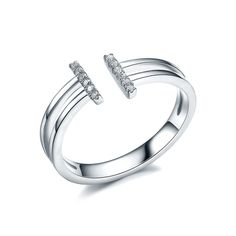 Redbarry Letter T Shaped Tiny CZ Paved Open Rings in 18k Platinum Plated, Size 8. 2016 new fashion style, 2 rows micro round cut cz crafted, nickel and lead free, finished in high polish 18k rose and white gold plated, never the same with others, just be yourself!. Size: 5.5/6.5/8/9 Net Weight: 1.6g. Warm Prompt: <br> 1. Differences in Color May Be Caused by Reflection of Computer Or light When Taking Pictures. <br> 2. Please Keep Your Jewelry Away From Water, Sweat, Chemicals, Often…