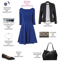 Classic fit and flare, with a great jacket and glamorous ballet flats. Royal blue looks great on me.