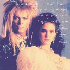 There's such a sad love. David Bowie Labyrinth, Labyrinth 1986, Labyrinth Movie, Labyrinth Goblins, Jim Henson Labyrinth, Terry Jones, Puffy Dresses, Labrynth, And God Created Woman