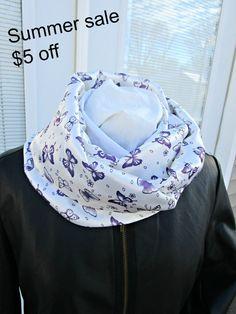 Purple butterfly satin infinity scarf by PrairieFlowerCreate