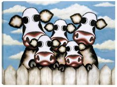 Happy Fa-moo-ly by Caroline Shotton - Humour Paintings & fine art pictures available in our gallery - Free delivery on all orders over Cow Art, Limited Edition Prints, Contemporary Artists, Art Pictures, Framed Artwork, Bowser, Art Drawings, Original Paintings, Fine Art